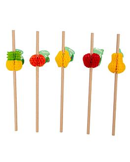 """pailles droites """"fruits"""" Ø0,60x23 cm naturel kraft (24 unitÉ)"""