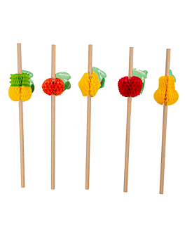 "pajitas rectas ""frutas"" Ø0,60x23 cm natural kraft (24 unid.)"