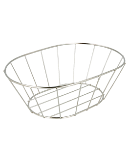 tuscan style basket 21,6x14x7,6 cm silver stainless steel (24 unit)