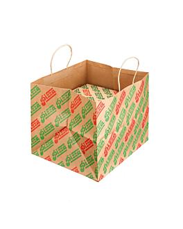 saco para caixas pizza 'pizza' 37+33x32 cm natural kraft (100 unidade)