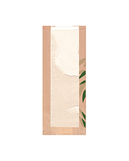 bolsas pan con ventana eco 'feel green' 32 g/m2 14+4x35 cm natural kraft (500 unid.)