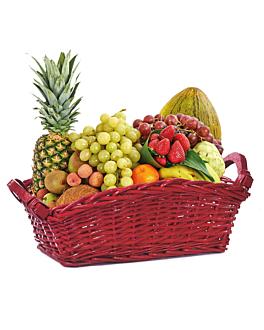 cesta para lotes 42x25x16,5 cm rojo mimbre (1 unid.)