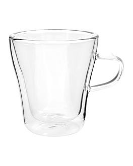 double wall cups 240 ml 8 (h) cm clear borosilicate glass (12 unit)