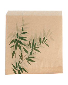 2 sides open bags 'feel green' 34 gsm 16x16,5 cm natural kraft (500 unit)