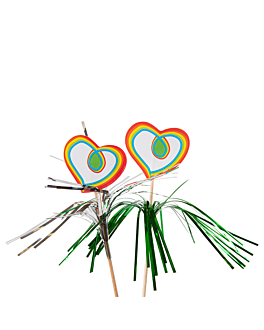 "decorazioni gelati ""cuori"" 15 (h) cm colori varie legno (100 unitÀ)"