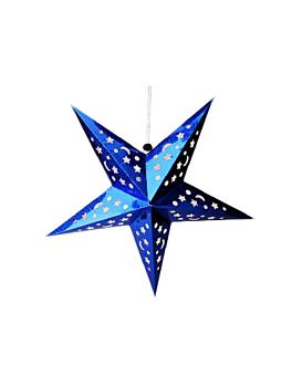 estrellas colgantes Ø 60 cm azul papel (10 unid.)
