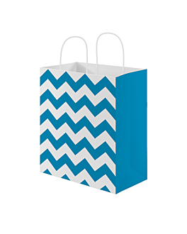 sos bags with handles 'zig-zag' 80 gsm 26+14x32 cm turquoise cellulose (250 unit)