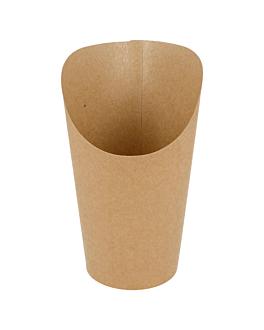 vasos fritas abiertos 16 oz - 480 ml 200 + 25 pe g/m2 Ø8,5x13,5 cm marrÓn cartoncillo (50 unid.)
