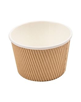 double wall ripple cups 500 ml 280 + 250 + 18pe gsm Ø11,5/8,8x7,5 cm brown cardboard (500 unit)