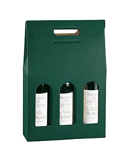 30 u. cajas 3 botellas 27x9x38,5 cm verde cartÓn (1 unid.)