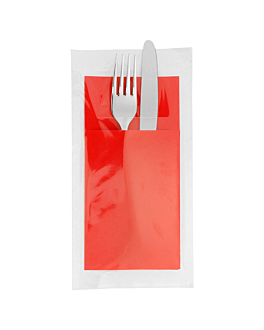 ind. wrap. napkins ecolabel f.1/8 'double point' 18 gsm 40x39 cm red tissue (300 unit)