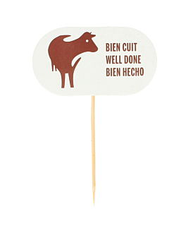 "steak marker ""well done"" 8 cm white wood (100 unit)"