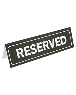 "table sign ""reserved"" 18x5,5 cm black pvc (1 unit)"