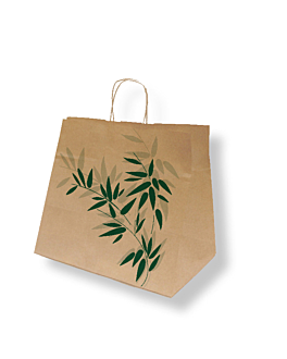 "bolsas sos con asas ""traiteur"" 'feel green' 90 g/m2 32+21x28,5 cm natural kraft (250 unid.)"