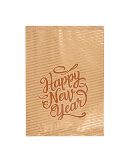 bolsas planas 'happy new year' 60 g/m2 26+8x35 cm natural kraft verjurado (250 unid.)