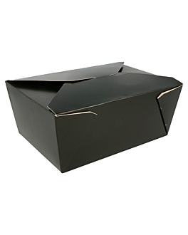 cajas americanas microondables 2880 ml 350 g/m2+pp 19,8x14x9 cm negro cartoncillo (40 unid.)