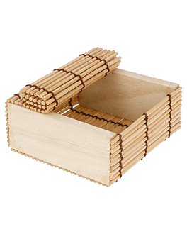 small sushi boxes 8,5x8,5x4 cm natural bamboo (50 unit)