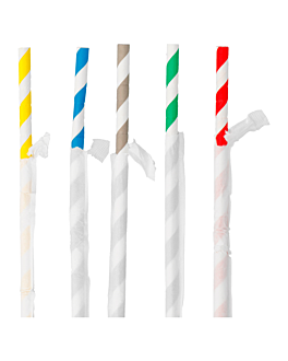 wrapped flexible striped straws Ø0,60x23 cm assorted paper (250 unit)