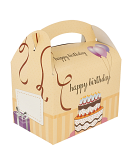party boxes 'happy birthday' 320 gsm 17x16x10 cm four coloured cardboard (300 unit)
