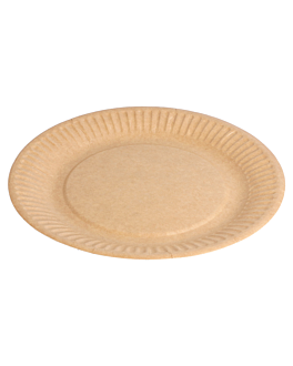 round embossed bio-lacquered plates 260 gsm Ø 18 cm natural cardboard (400 unit)