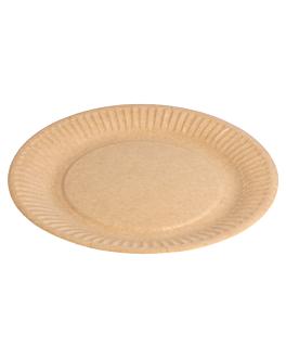 piatti rotondo goffrati bio-laccati 260 g/m2 Ø 18 cm naturale cartone (400 unitÀ)