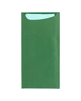 cutlery sachets + napkin 'just in time' 80 + 10pe gsm + (17gsm) 11,2x22,5 cm green kraft ribbed (400 unit)