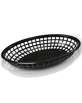 corbeilles ovales 24x15x4,5 cm noir pp (12 unitÉ)