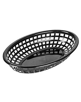 cestas ovales 24x15x4,5 cm negro pp (12 unid.)