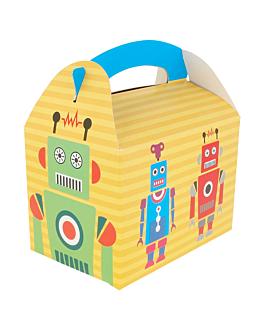 """party boxes """"robot"""" 320 gsm 17x16x10 cm four coloured cardboard (300 unit)"""