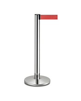 movable posts with retractable strap Ø 36x104 cm red aluminium (2 unit)