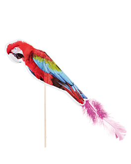 """ice cream decorations """"parrot with feather"""" 20 (h) cm assorted wood (100 unit)"""
