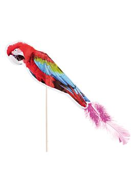 decorazioni per gelati - pappagallo con piume 20 (h) cm colori varie legno (100 unitÀ)