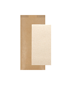 wrapped recycled napkins 'd.point' 40x32 cm 'just in time closed' 40 + 10pe gsm 11x25 cm natural kraft ribbed (300 unit)