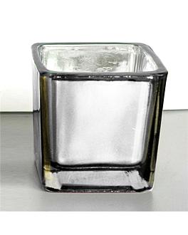 bougie dans verre 5,1x5,1 cm argente paraffine (12 unitÉ)