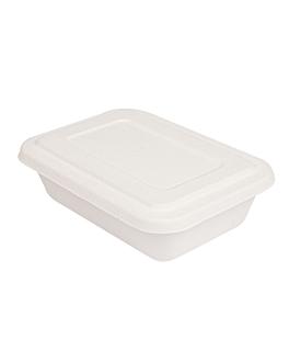 trays + lid 'bionic' 800 ml 19,3x13,5x5 cm white bagasse (400 unit)