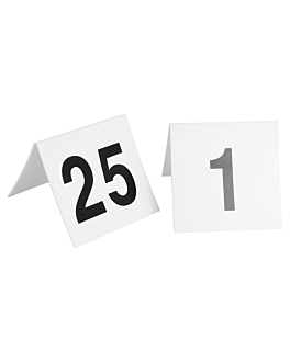 tabletop numbers from 1 to 25 5x3,6 cm white pvc (1 unit)
