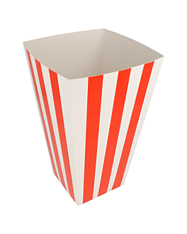 recipients pop-corns 'stripes' 3 l 320 g/m2 9x14x23 cm blanc carton (400 unitÉ)