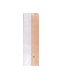 sandwich bags with eco window 'corner window' 40 gsm 9+5,5x30 cm natural kraft (250 unit)