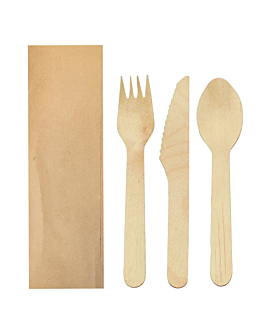 set fork, knife, spoon wrapped kraft 'makan' 16 cm natural wood (100 unit)