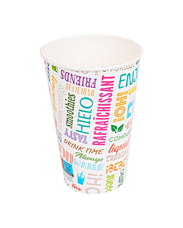 bicchiere 'parole' 16 oz - 480 ml 280 + 18pe g/m2 Ø9x12,6 cm bianco cartone (1000 unitÀ)