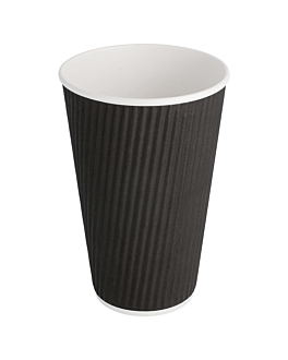double wall corrugated cups for hot drinks 480 ml 300 + 250 + 18 pe g/m2 Ø9/6x13,4 cm black cardboard (500 unit)