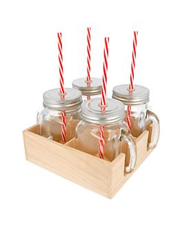 set 4 pichets+paille avec base 450 ml Ø 8x13 cm transparent verre (6 unitÉ)