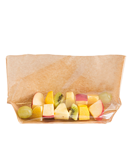 bolsas con base y ventana 'turtle pack' 50 g/m2 + 15 pp 27x15x4/4 cm natural kraft (100 unid.)