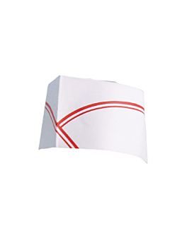 adjustable pillbox chef's hats red stripes 28 cm white paper (100 unit)
