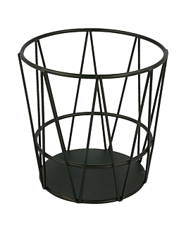 grisines basket Ø 11,5x11,5 cm black steel (24 unit)