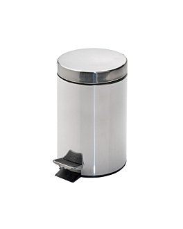 pedal bin with interior receptacle 3 l Ø 17x24,5 cm silver stainless steel (1 unit)