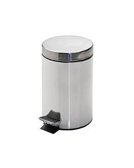 cubo pedal con receptÁculo interior 3 l Ø 17x24,5 cm plateado inox (1 unid.)
