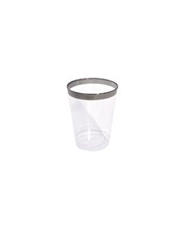 12 vasos con ribete plata 270 ml transparente ps (30 unid.)