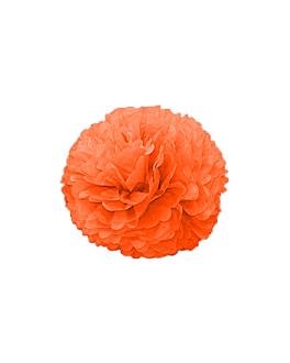 pom pom flower Ø 25 cm naranja (10 unid.)
