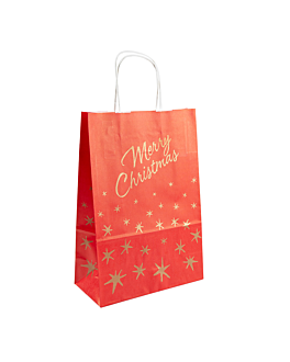 sacos sos con asas 'merry christmas' 80 g/m2 26+14x32 cm rojo celulosa (250 unid.)